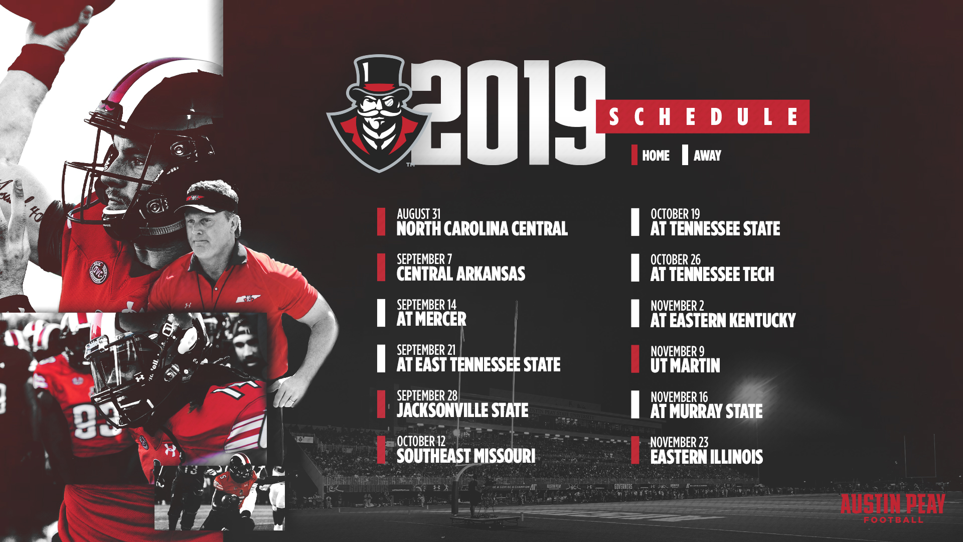 Austin Peay Football Schedule 2020 Austin Peay 2019 football schedule features six home games; three